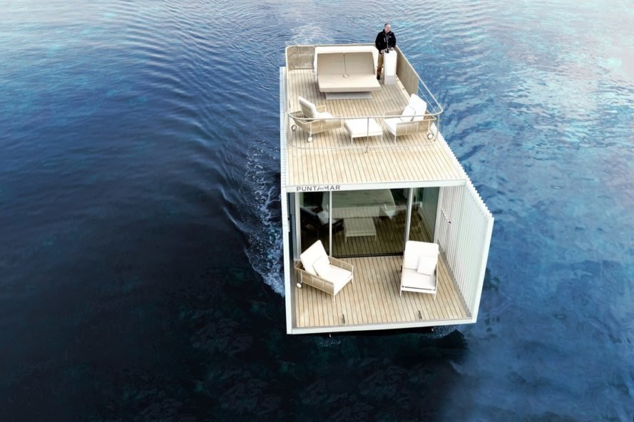 floating white hotel with two decks