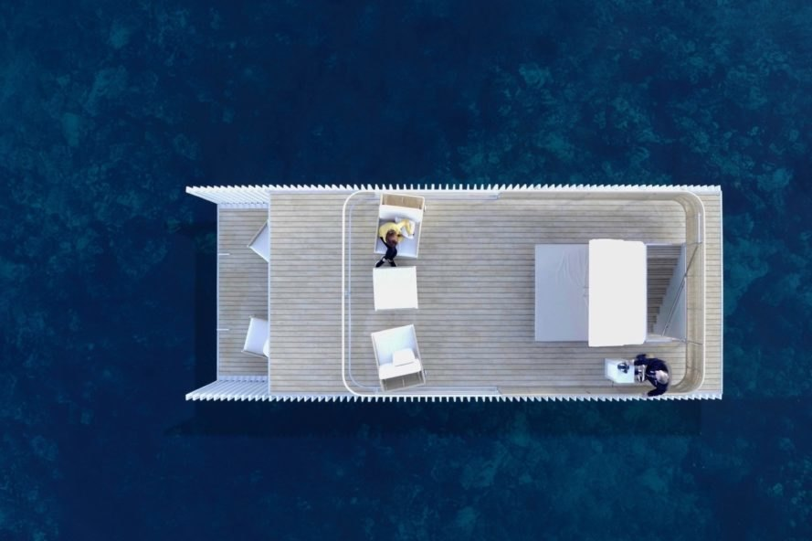 aerial view of floating hotel with two decks