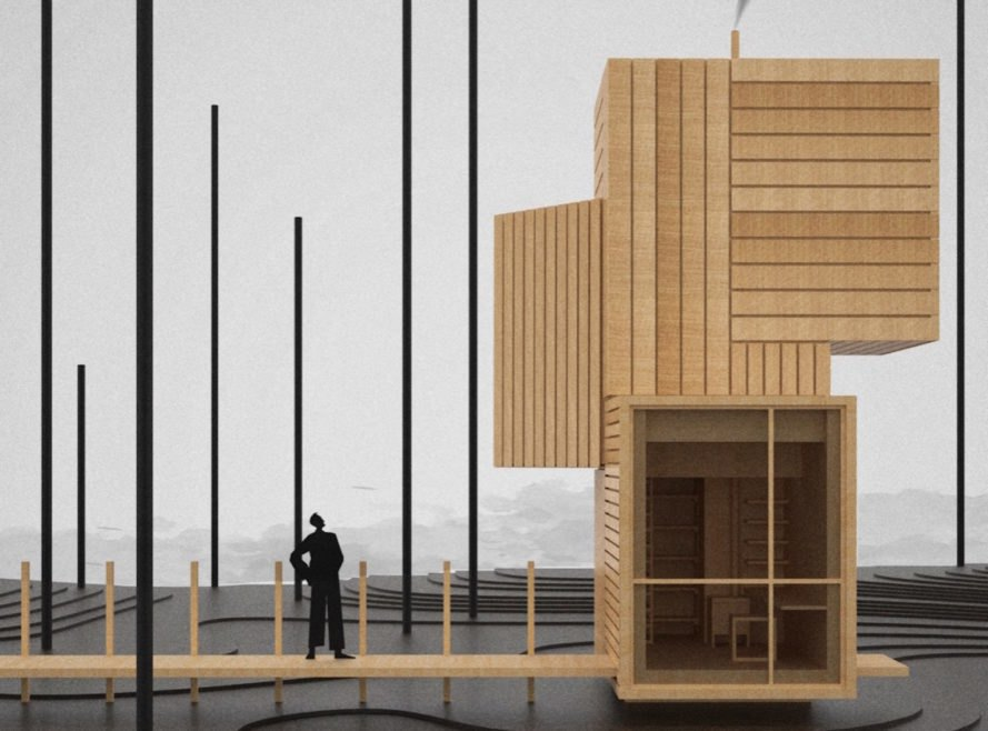 rendering of person on wooden path looking up at tall modular cabin built of wood