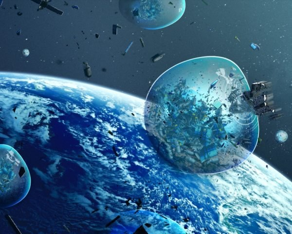 rendering of space waste flying toward Earth