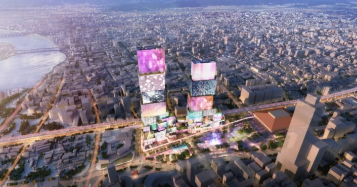 photo of MVRDV proposes a glowing Times Square Taiwan with interactive media facades image