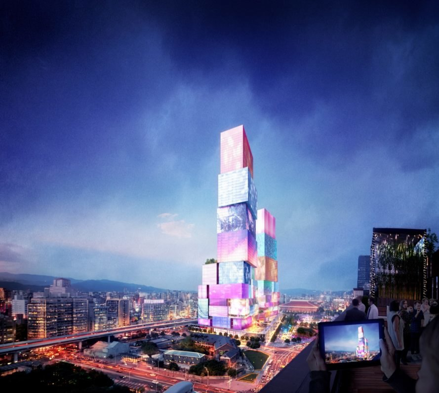 rendering of tower covered in media screens glowing at night