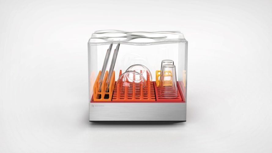 dishwasher with clear casing and orange racks