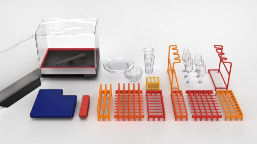 dishwasher components laid out on white background