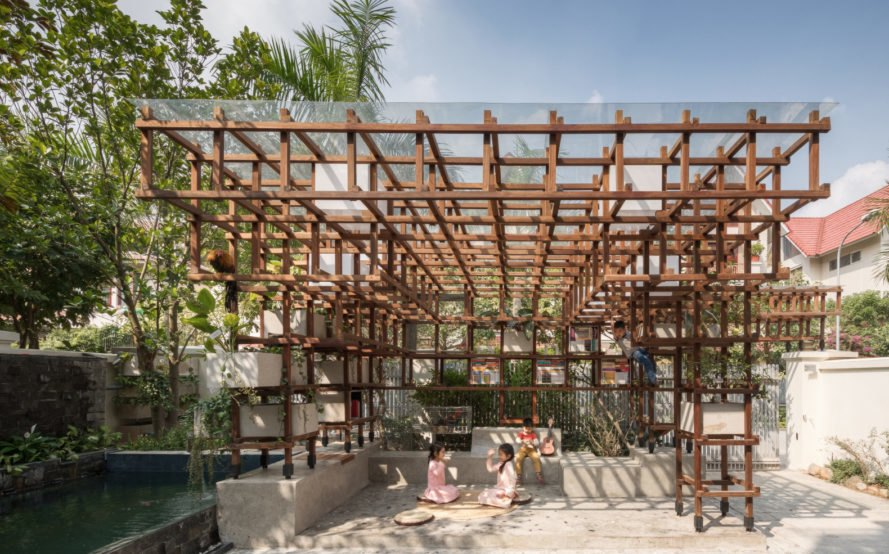 building made of wooden framing with greenery