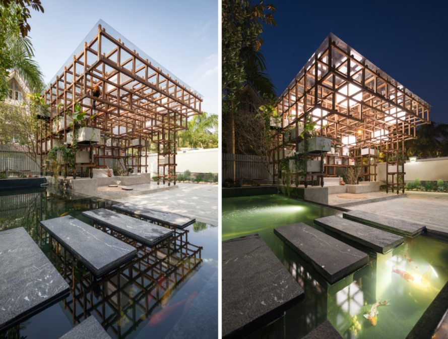 building made of wooden framing with greenery and ponds