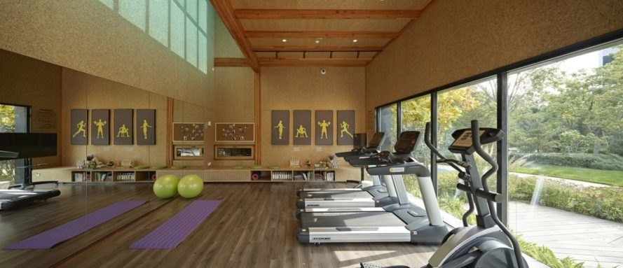 exercise room with treadmills