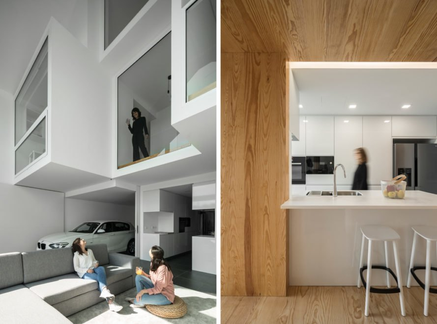 On the left, person standing by high window waving to people below. On the right, person in white and light wood kitchen space.