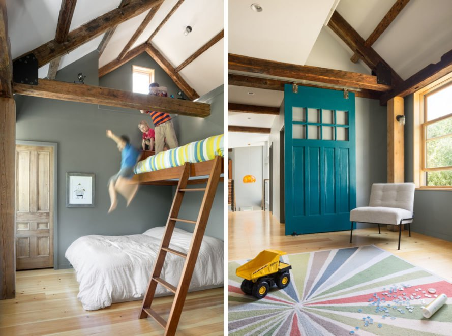 On the left, children jumping on bed. On the right, gray room with teal door and colorful rug