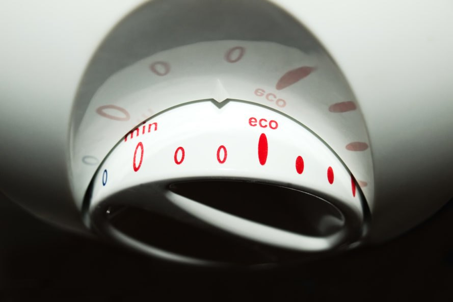 """washer dial turned to """"eco"""" setting"""
