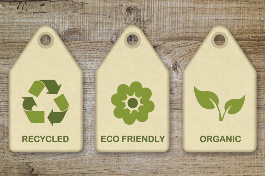 "tags that read ""Recycled,"" ""Eco-friendly"" and ""Organic"""
