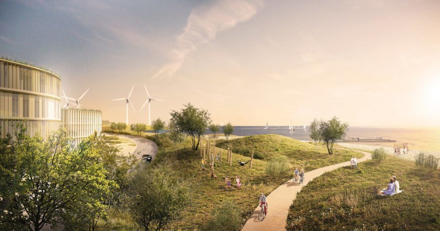 rendering of renewable energy plant at dusk with people riding bikes nearby