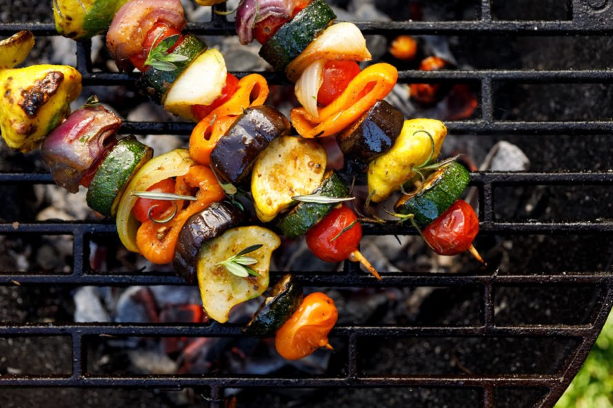 veggie kabobs on a grill