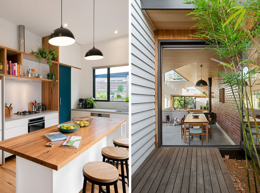 On the left, kitchen with wood island. On the right, wood deck leading to dining area through large glass door