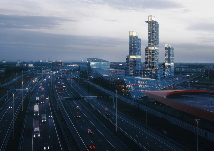 rendering of highway and three skyscrapers in the distance