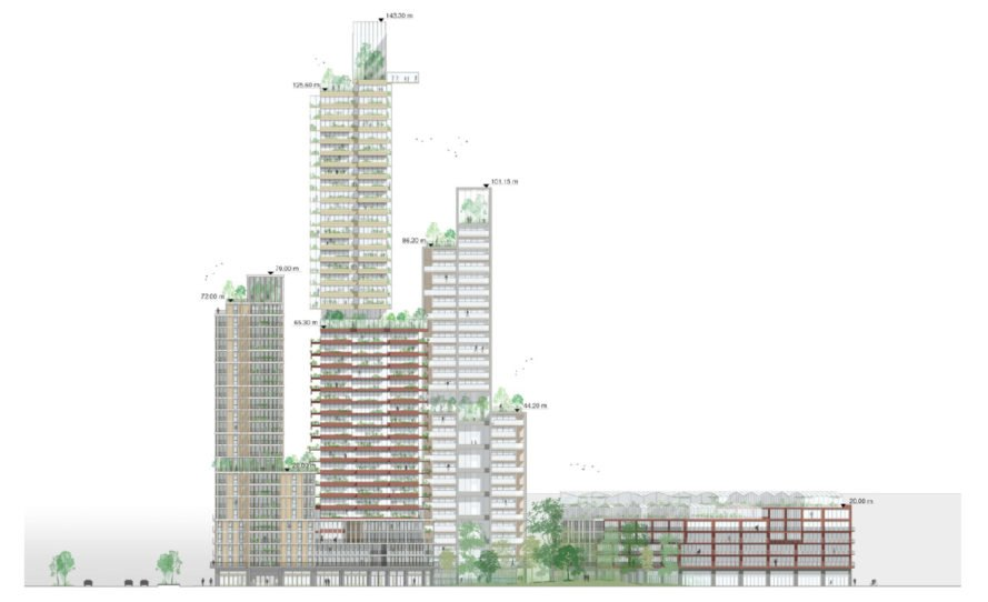 side drawing of three high-rise towers