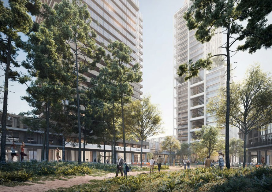 rendering of people walking through leafy area with tall towers ahead of them