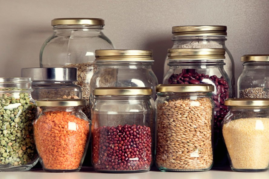see through storage containers with grains inside