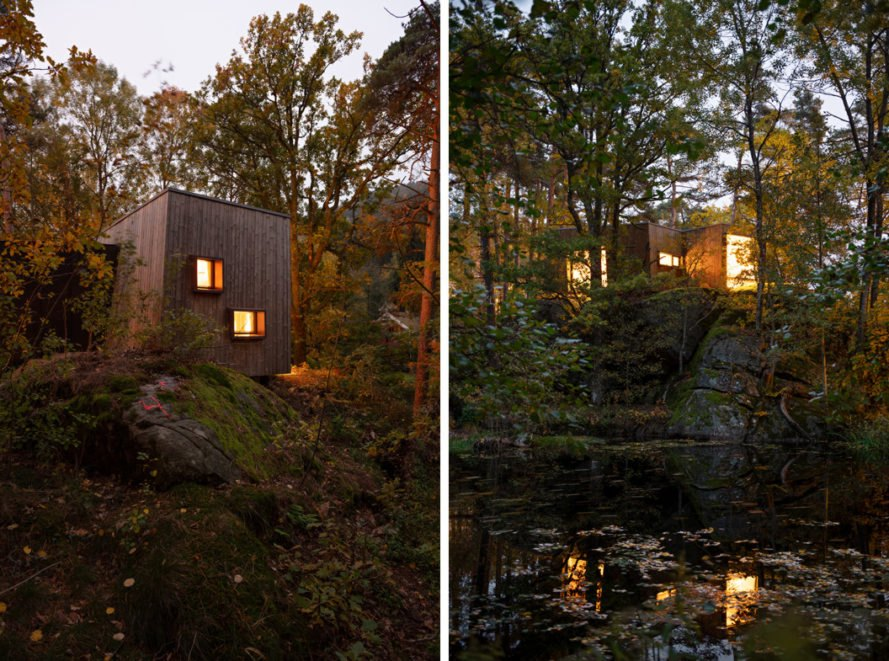 wooden cabins lit up from within at night and surrounded by forest