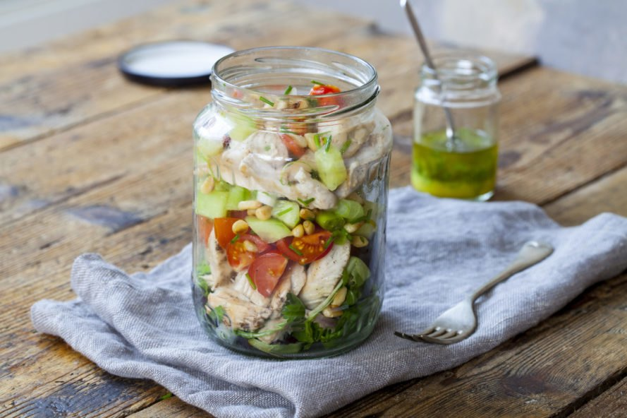 salad in a glass jar