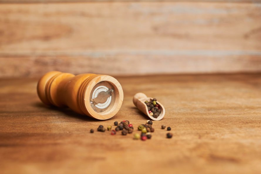 pepper mill with ground pepper