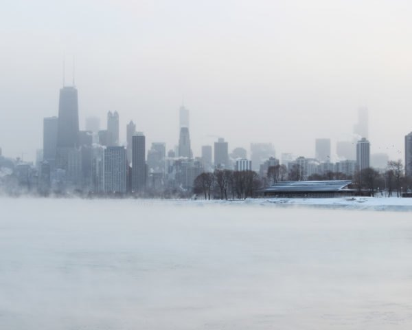 Chicago skyline surrounded by snow