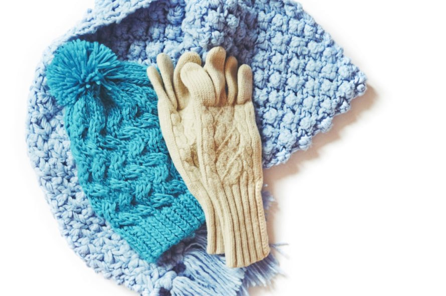 gloves, beanie and scarf