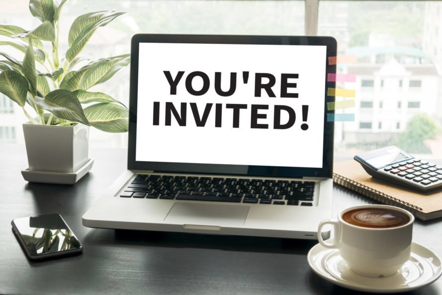 "laptop screen reading, ""You're Invited!"""