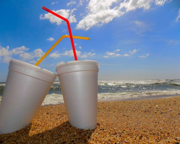 two white foam drink containers at the beach in the sand with colored straws