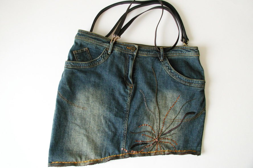 jean skirt made into a purse
