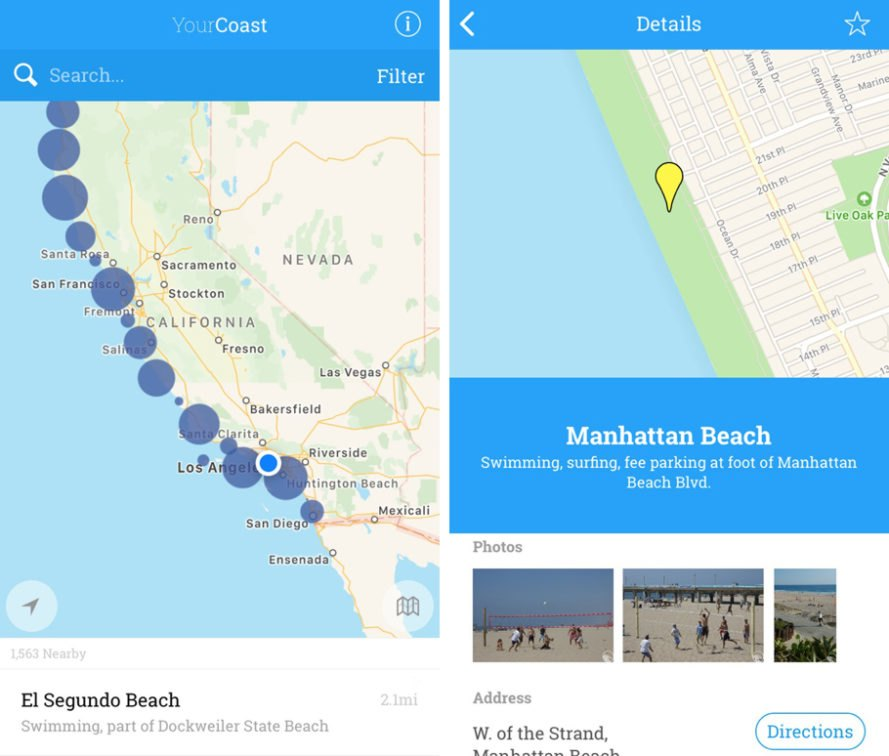 Map and beach information on an iPhone app