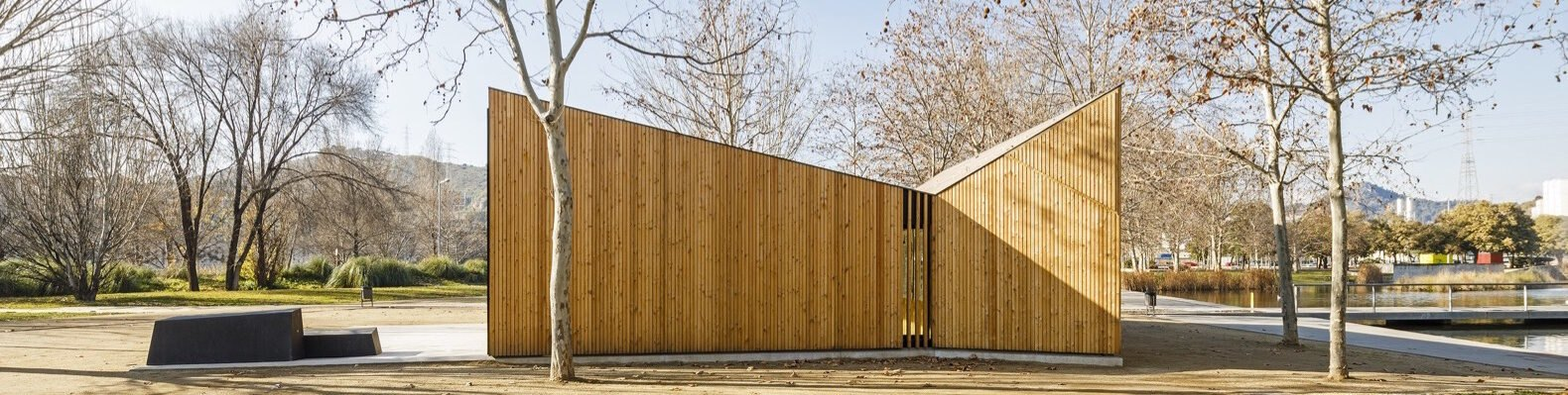 timber building with sharp angled roofs