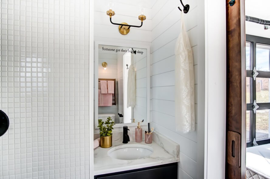 small, all-white bathroom