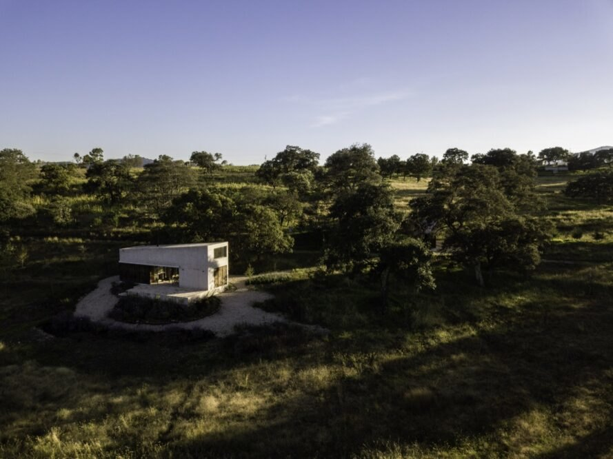 aerial view of stone home surrounded by forest and wild grasses