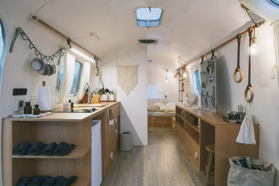 interior living space of renovated airstream