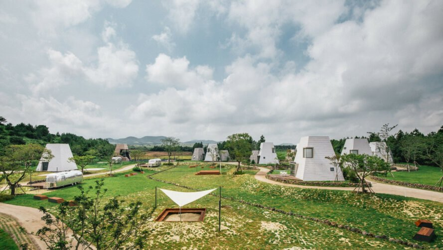 glamping area with huts and airstreams