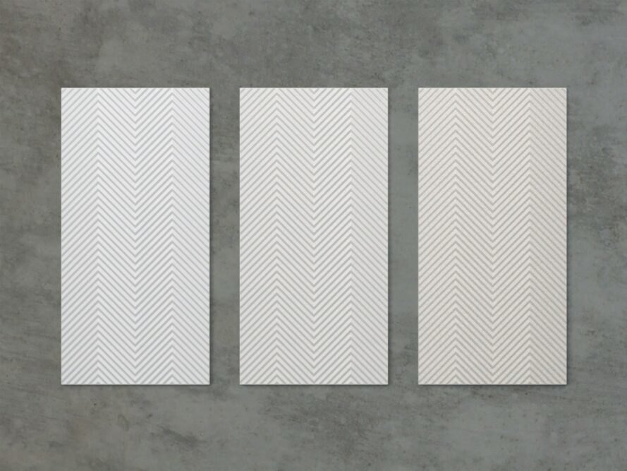 Three vertical panels in various natural tones