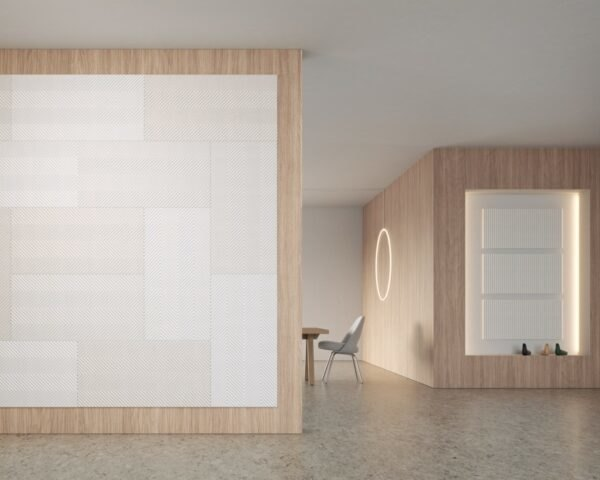 neutral room with large white panels hanging on the wall