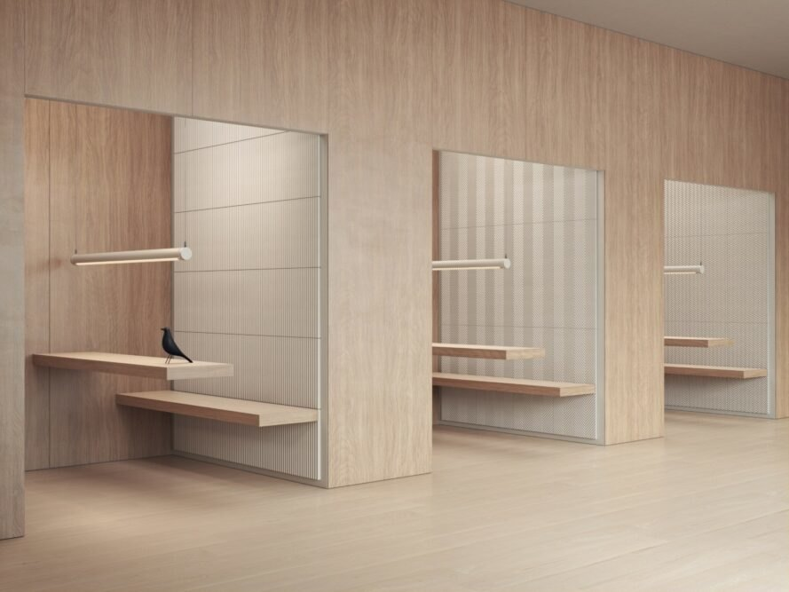 various closets with white panels on the walls
