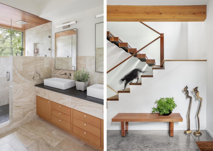 bathroom with two sinks and timber cabinets and staircase with timber stairs