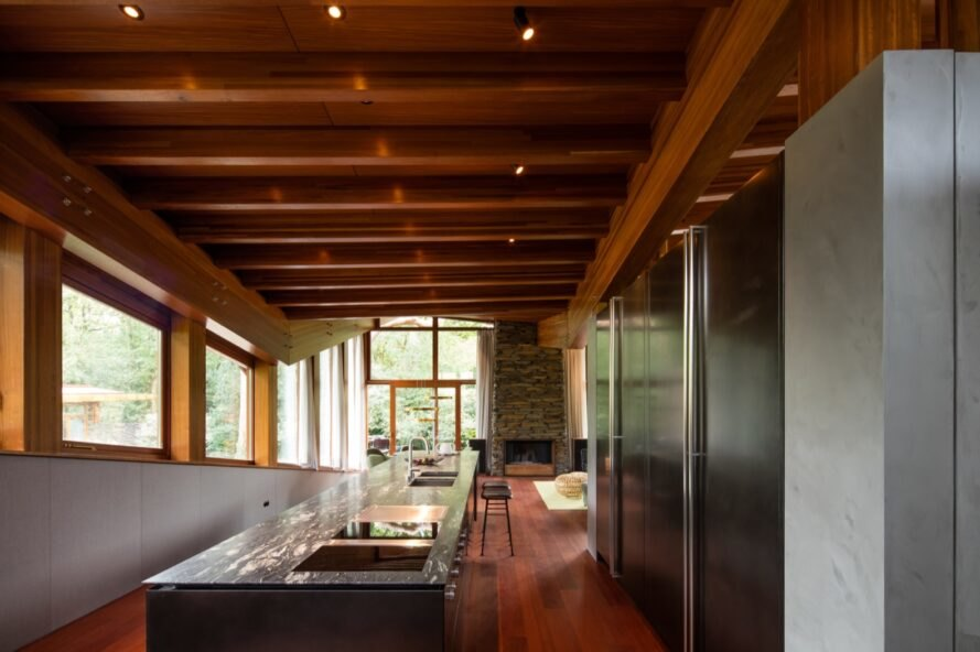 interior of home with wood floors, ceilings and beams