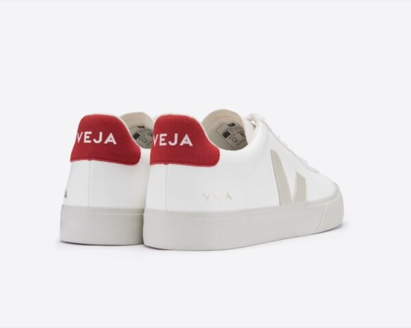 white vegan shoes with red heels