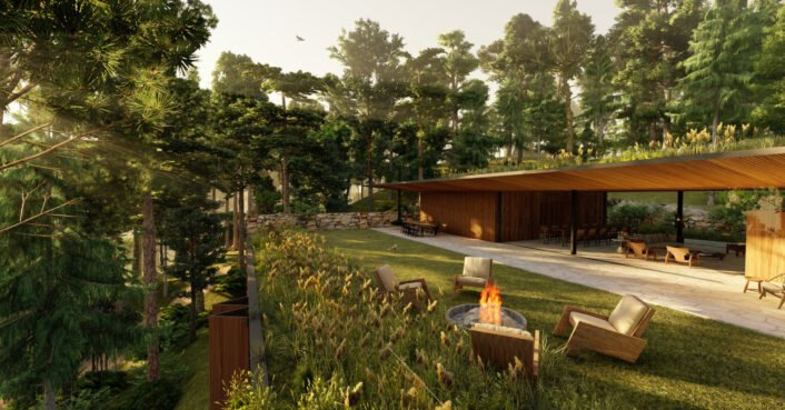 Architects design gorgeous forest-enveloped home with lounge space on its green roof
