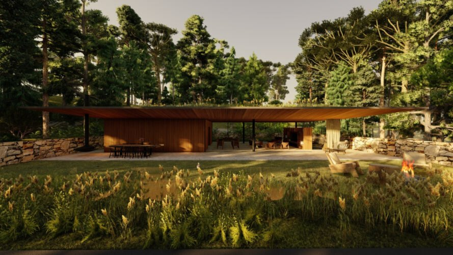 a home with a large open-air green roof