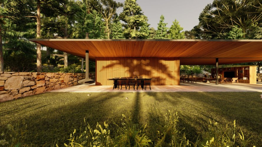 a wooden home with a large green roof