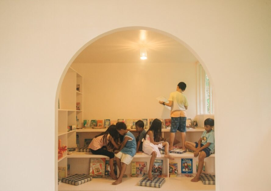 group of children in library space