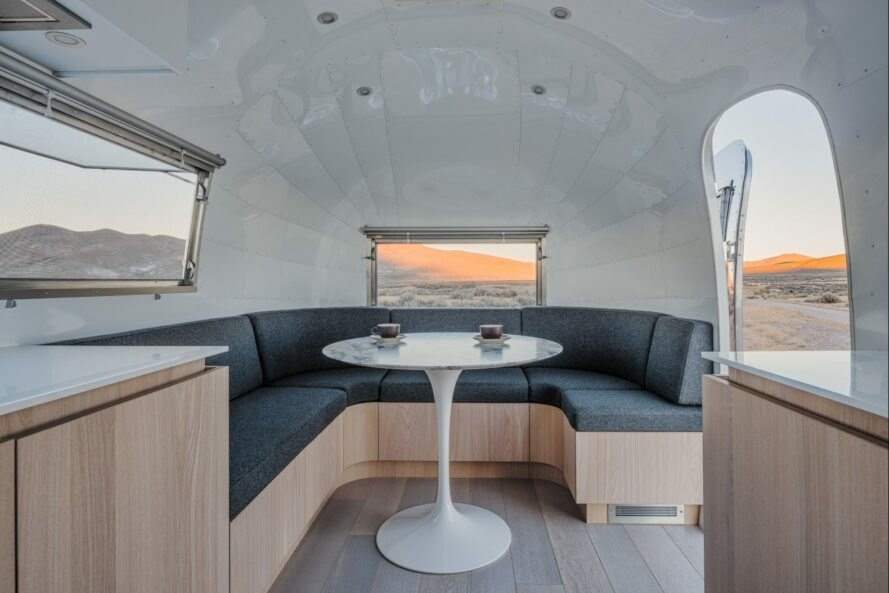 seating space in airstream trailer