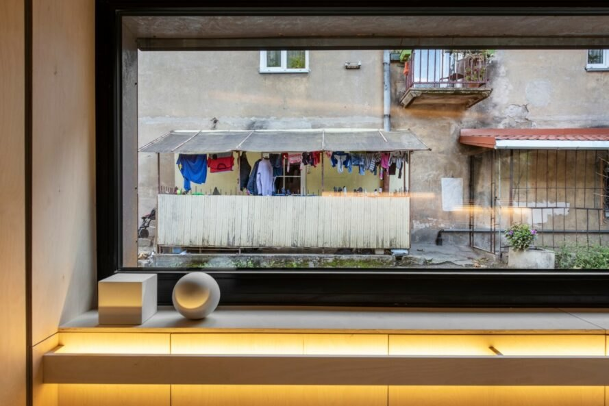 view from elongated window of laundry hanging to dry