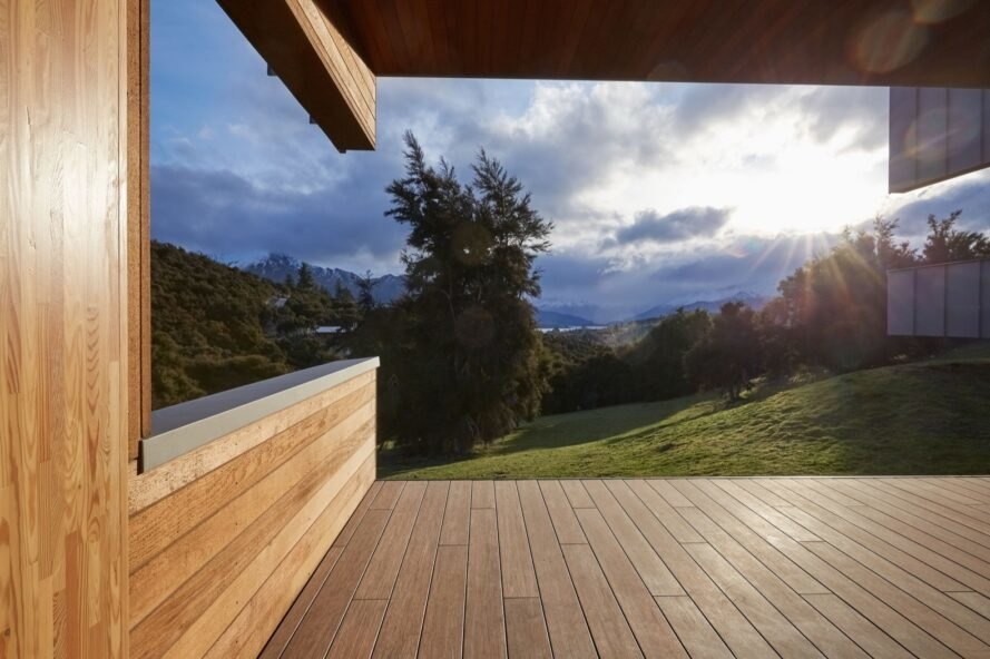 wooden deck with landscape views of New Zealand