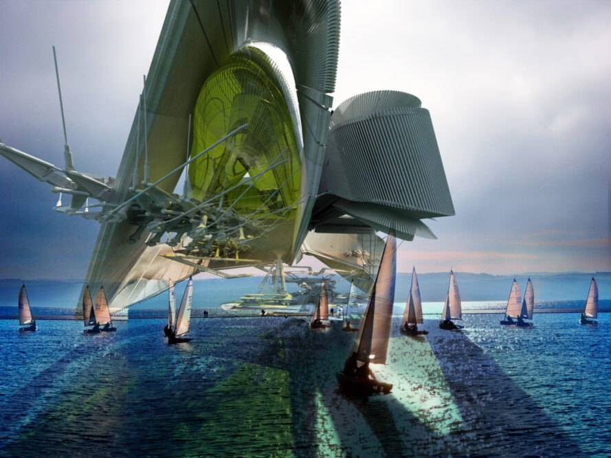 Futuristic structure in the sea